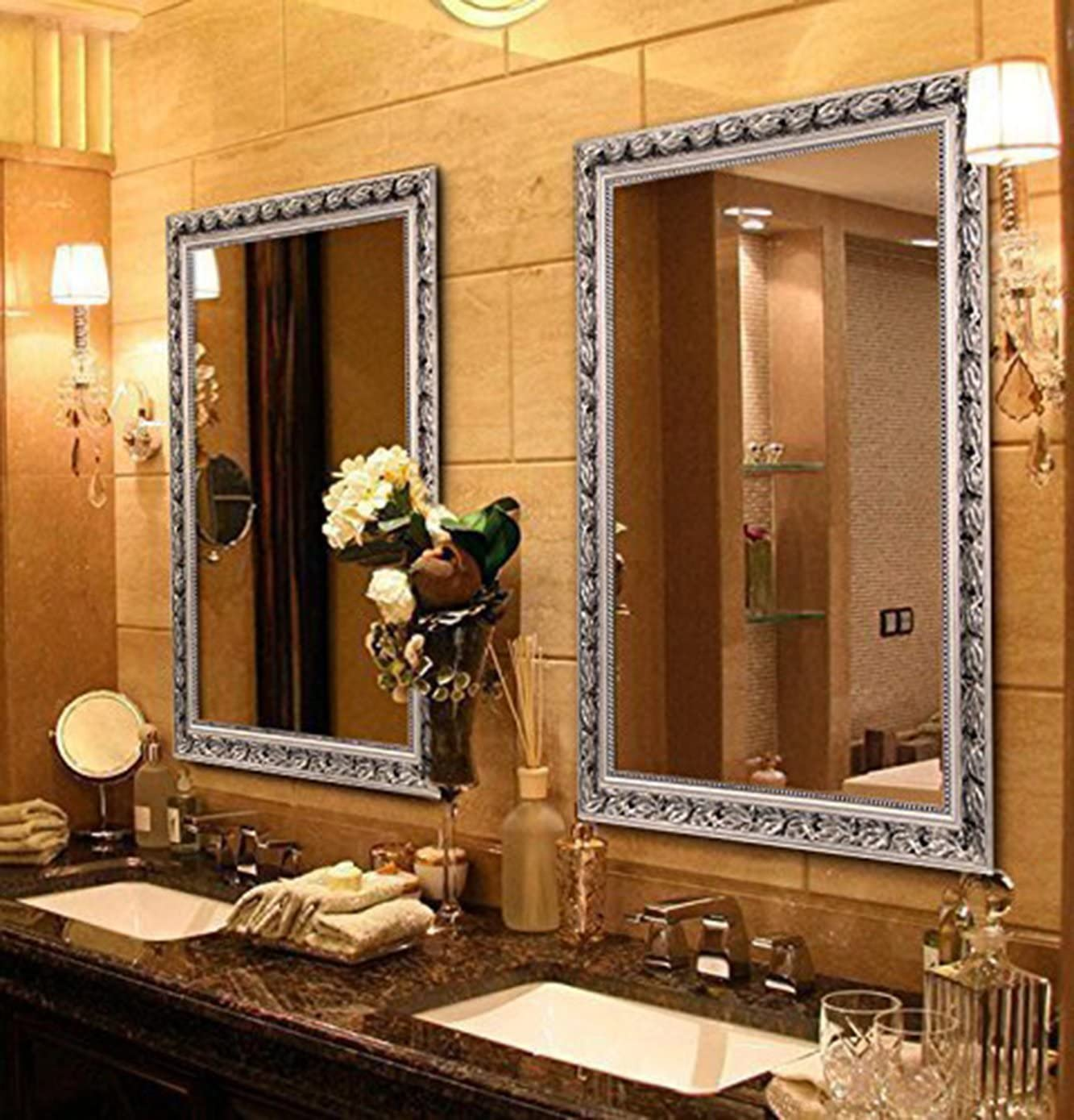 Amazon Com Hans Alice Large Rectangular Bathroom Mirror Wall Mounted Wooden Frame Vanity Mirror Silver 32 X24 Home Kitchen
