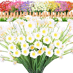 JEMONG 10 Bundles Artificial Daisies Flowers UV Resistant Shrubs, No Fade Faux Flowers for Indoor Outside Hanging Plants Garden Porch Window Box Décor (White)