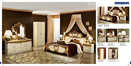 Gentil ESF Barocco Traditional Ivory Veneer With Gold Accents Classic Italian  Queen Size Bedroom Set