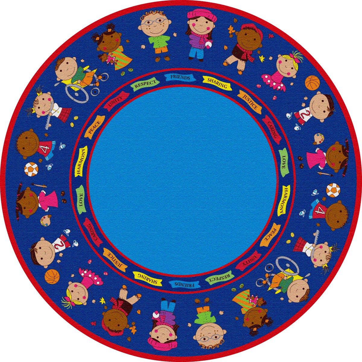 Kid Carpet FE82027A Friends Full Circle Round Nylon Area Rug, 6' , Multicolored
