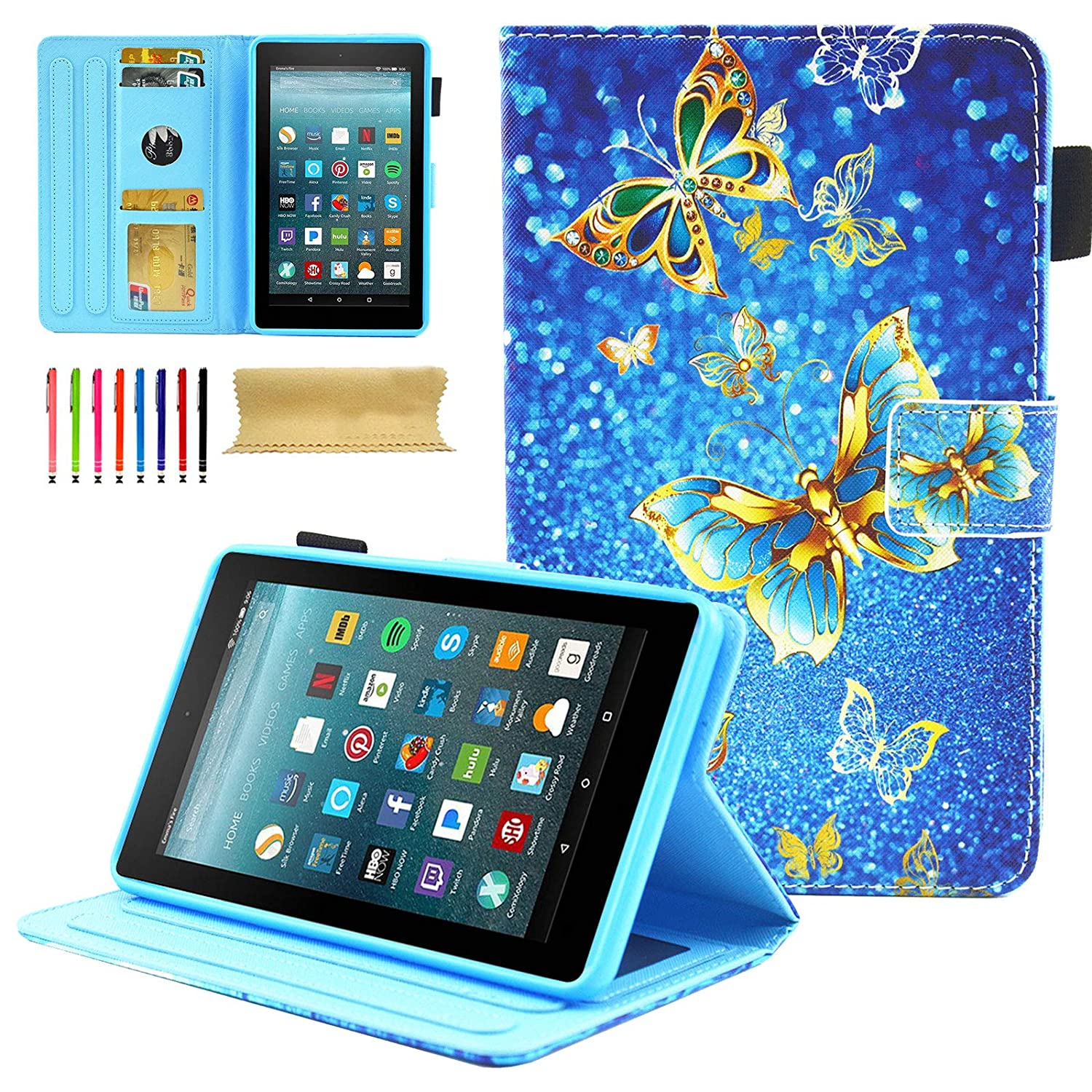 Kindle Fire 7 2017 (7th Generation)/ Fire 7 2015 (5th Generation) Kids  Case, Coopts PU Leather Stand Protective Wallet Cases and Covers for Amazon