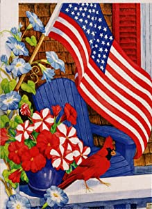 Dyrenson Home Decorative Outdoor 4th of July Patriotic Cardinal Garden Flag Double Sided, July 4 House Yard Flag Pansies, Red Bird Geraniums Garden Decorations, USA Seasonal Outdoor Flag 12 x 18