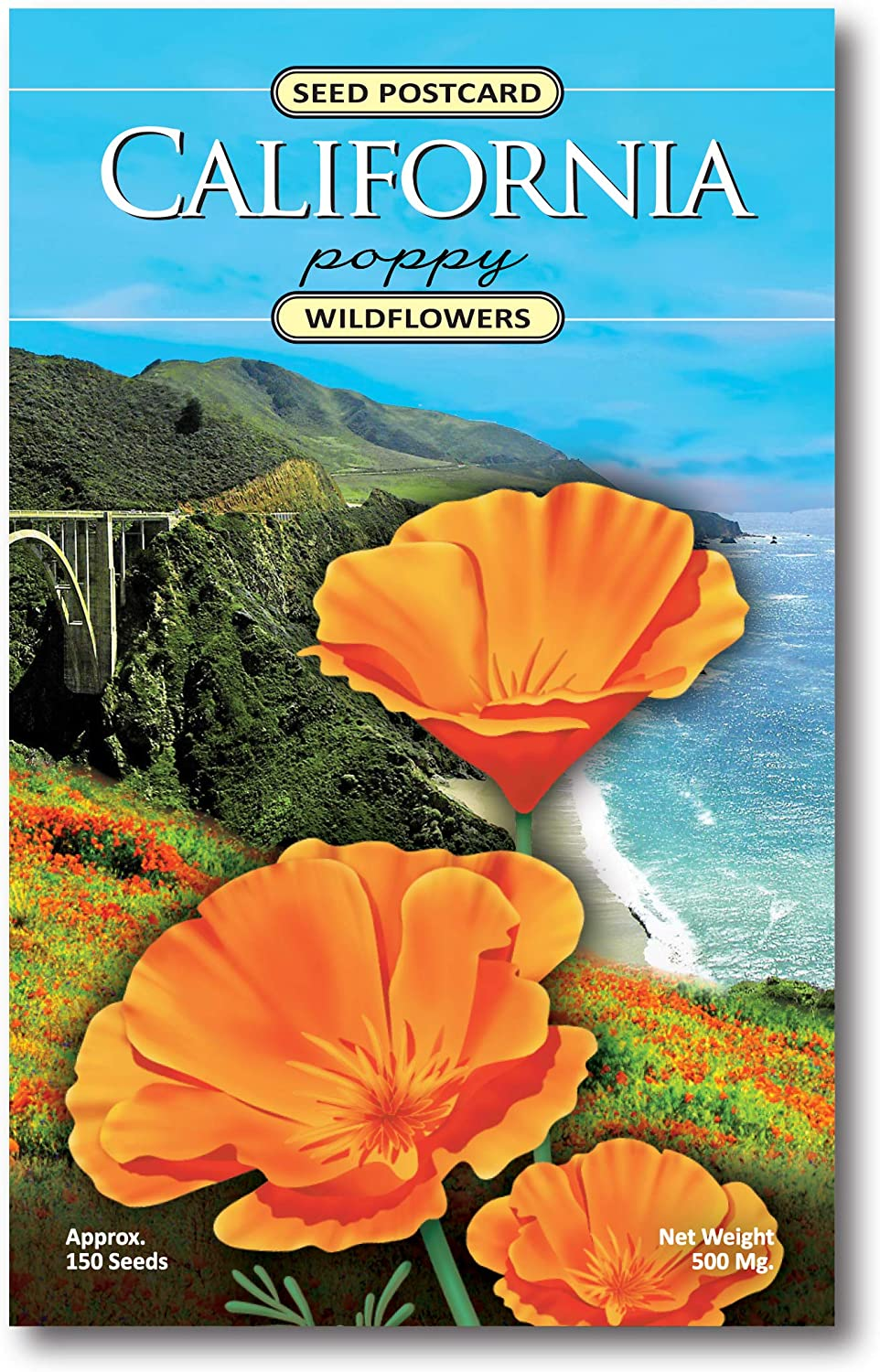 3 Pack - California Poppy Wildflower Seed Packets - Enjoy The Natural Beauty of California Flowers in Your Own Home Garden - State Flower