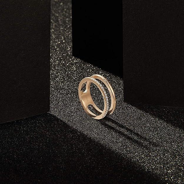 SHEGRACE Anello da Donna a Doppia Fascia in Argento Sterling 925 con Zirconi 3A Platino//Oro Oosa 16 mm e 17 mm 15 mm