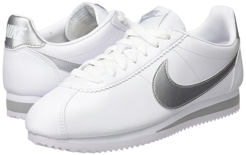 NIKE Women's Classic Cortez Leather Casual Shoe B07458V7BP 9 B(M) US White/Metallic Silver