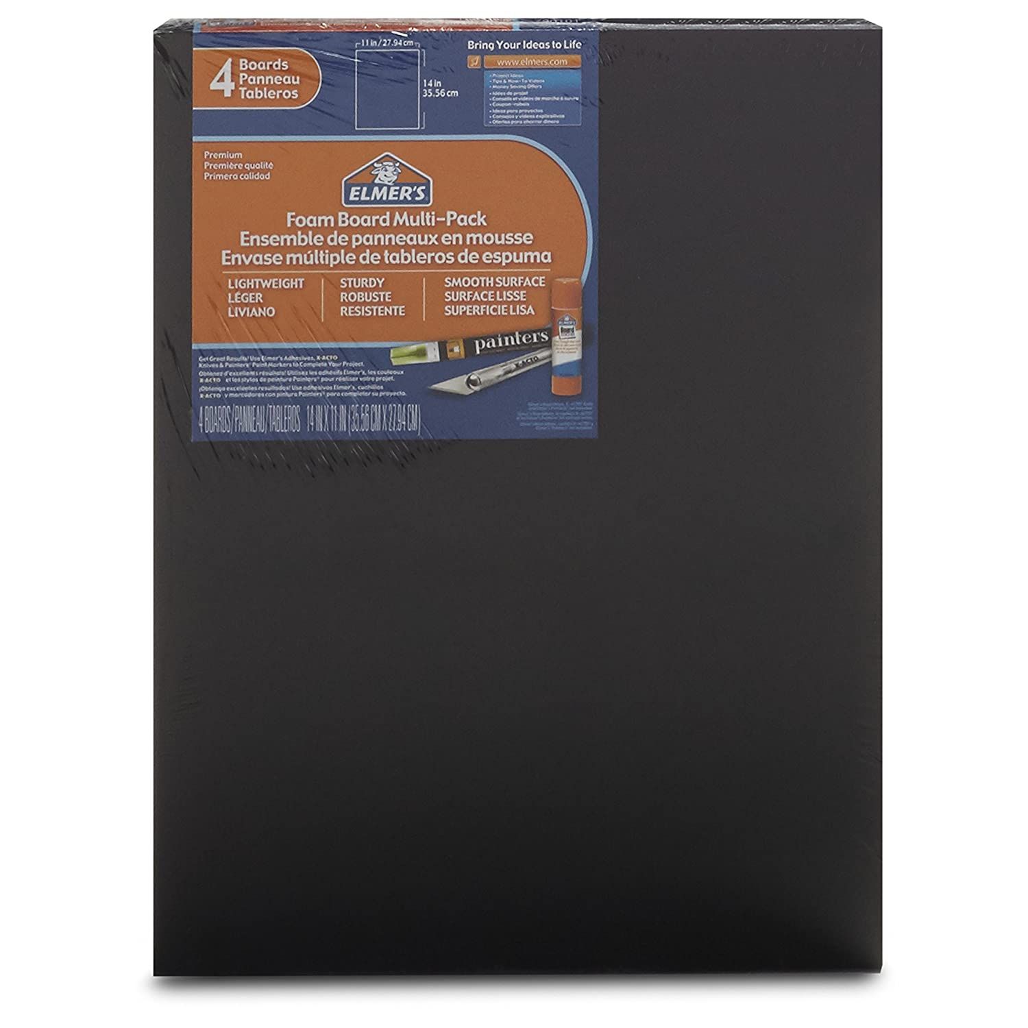 Elmer's Foam Boards, 11 x 14 Inches, Black/Black Core, 4-Count (950024) Elmer' s Foam Boards Elmers