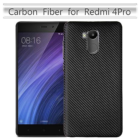 pinlu® Funda para Xiaomi Redmi 4 Pro Silicona TPU Super-Ligero Carcasa Espalda Anti-Rasguño Shock-Absorción Diseño de Fibra de Carbono Soft Cubierta ...