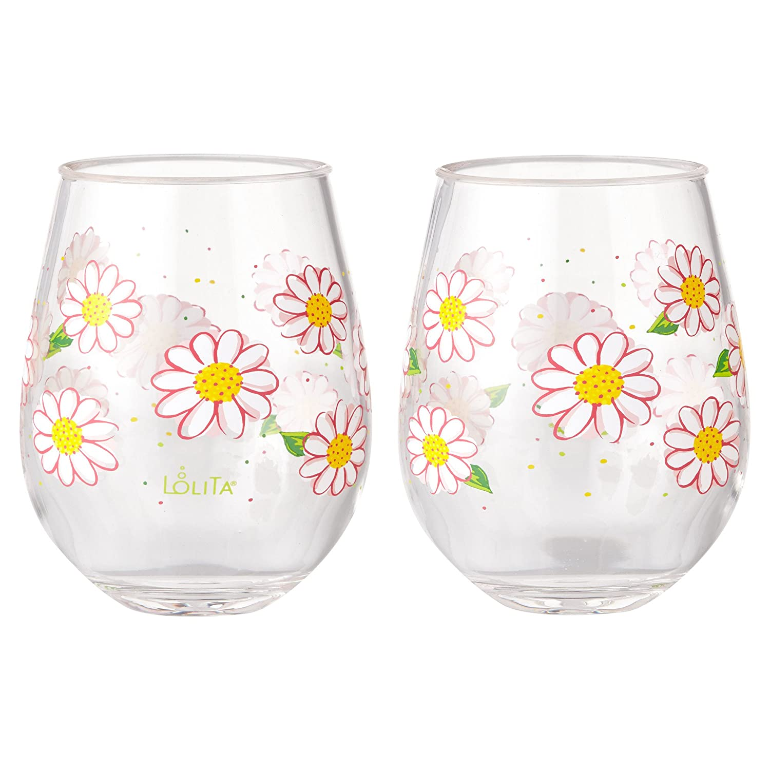 76595606310 Enesco Designs by Lolita Oops a Daisy Acrylic Stemless Wine Glasses, Set of  2, 17 oz.