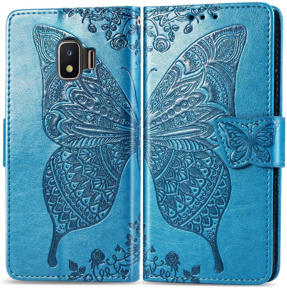 XYX Wallet Case for Galaxy J2 Core,[3D Butterfly Flower] PU Leather Folio Case with Kickstand Magnetic Closure Protective Cover for Samsung Galaxy J2 Core/J2 Dash/J2 Pure/J2 2019 (Blue)