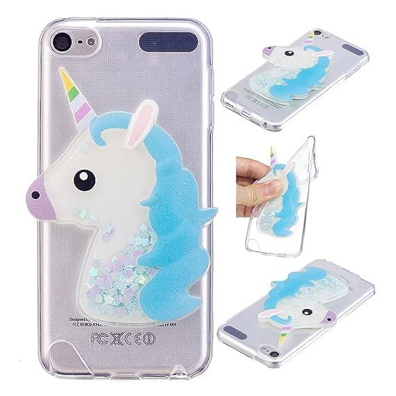 on sale e7529 20d19 iPod Touch 6 Case, iPod Touch 5 Case, Ranyi [Liquid Glitter Unicorn] [3D  Cute Unicorn] Clear TPU Cover + Flowing Floating Liquid Glitter 3D Unicorn  ...