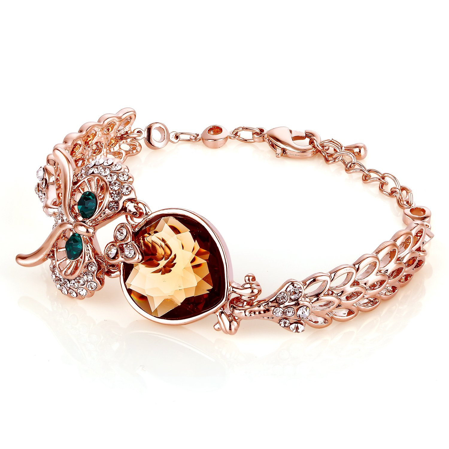 Menton Ezil Lucky Owl Bracelets With Turquoise Jewelry Charms Antique Golden Rhinestone Crystal for Womens Girls Gifts by Menton Ezil (Image #4)