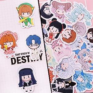 YJacuing Anime Cardcaptor Sakura Cute Chibi Reusable Vinyl Decals Stickers (20 PCS)