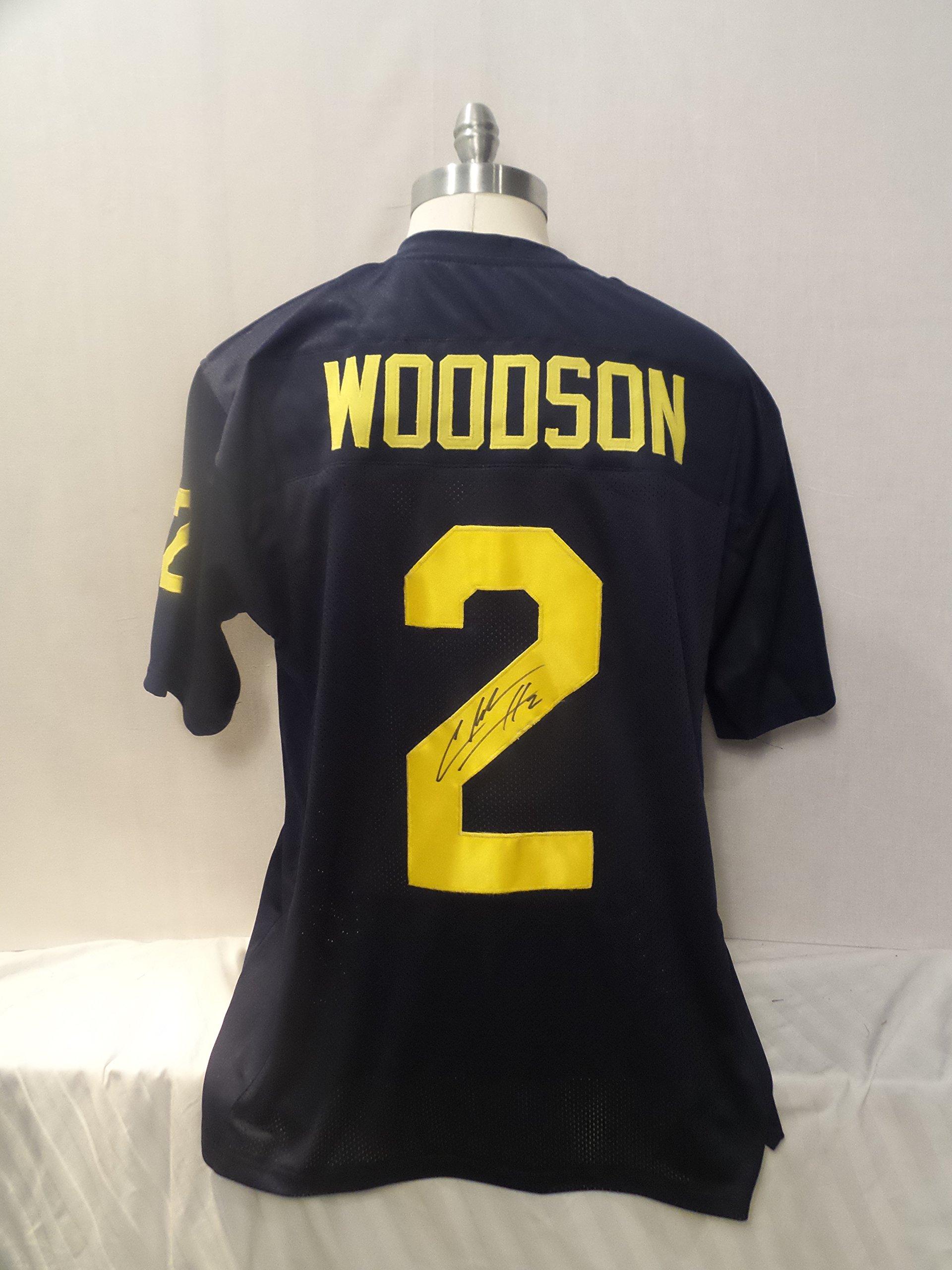 Charles Woodson Signed Blue Custom Autographed Pro style Novelty Custom Jersey