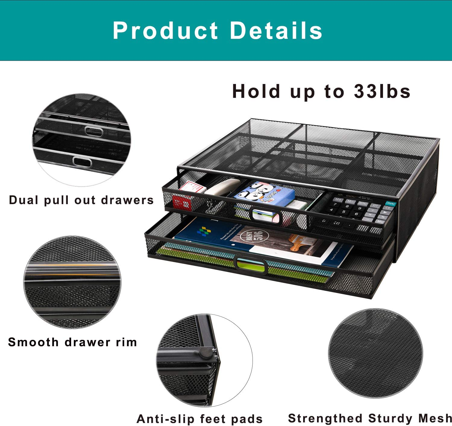 Monitor Stand Riser with Drawer - Metal Mesh Desk Organizer with Dual Pull Out Storage Drawer, Office Supply for Computer, PC, Laptop, Printer, Notebook, iMac (Black) : Office Products