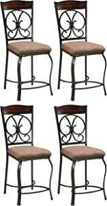 Ashley Furniture Signature Design - Glambrey Upholstered Barstool - Set of 4 - Traditional Style - Brown