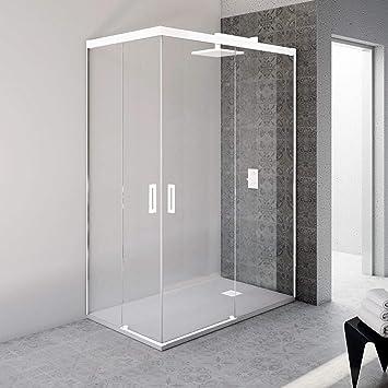 VAROBATH.Mampara de ducha rectangular sin perfil inferior con cristal transparente 6 mm y perfil aluminio blanco mate. (70 a 90x 100 a 109 cm.): Amazon.es: Bricolaje y herramientas