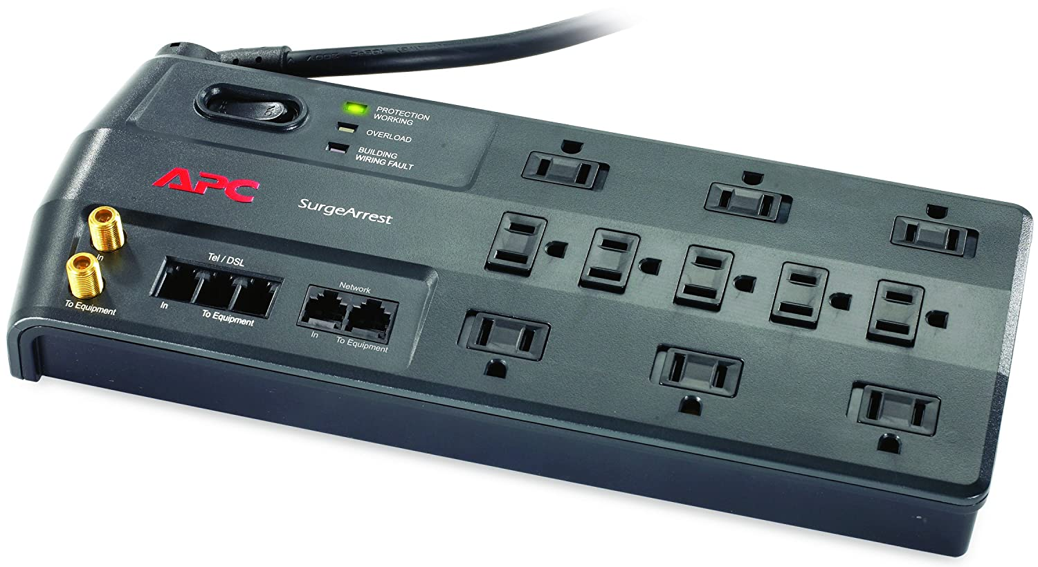 P8T3 2525 Joules SurgeArrest Performance APC 8-Outlet Surge Protector Power Strip with Telephone and DSL Protection
