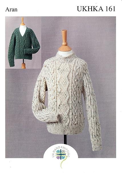 Ukhka Aran Knitting Pattern For Childrens High Or V Neck Cable