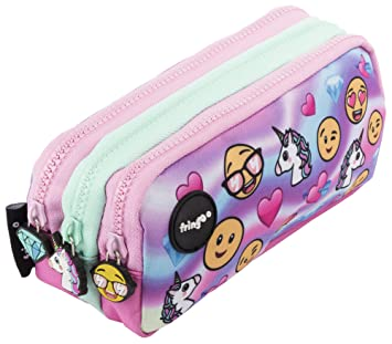 Estuche para lápices de 3 compartimentos FRINGOO, para niños, divertido y bonito, color Emoji Hologram - 3 Compartments Large