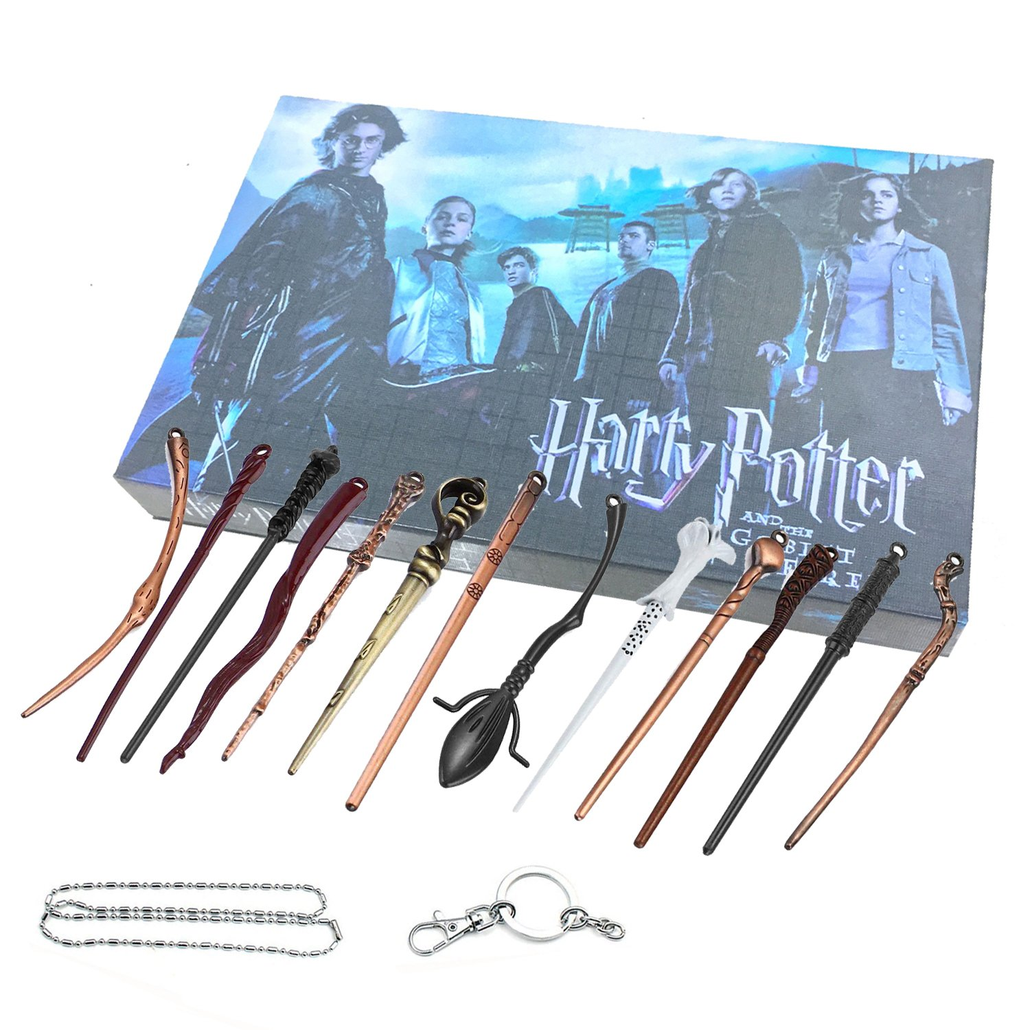 13 Styles Creative Cosplay Harry Potter Series Magic Wands New with Metal Core Magical Wands with Keychain Necklace for Kids by Harmoos (Image #2)