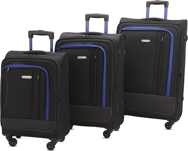 HyBrid Company Luggage Set Durable Lightweight Soft Case Spinner Suitcase LUG3-JZ787, 3 Pieces, Black Dark