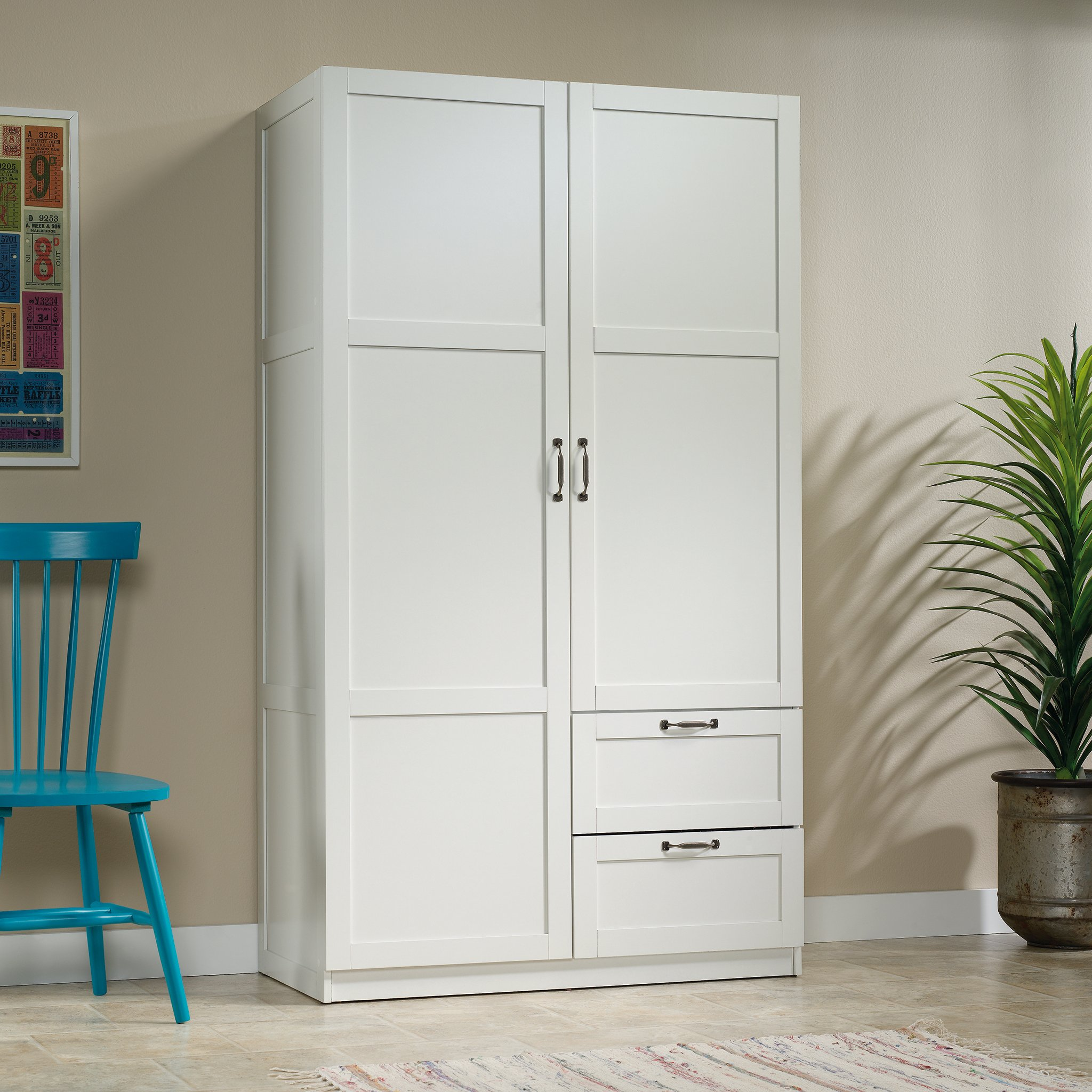 Sauder Large Storage Cabinet, Soft White Finish