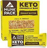Munk Pack Keto Granola Bars, Peanut Butter, 12 Pack, 1g Sugar, 2g Net Carbs, Keto Snacks, Chewy & Grain Free, Plant…