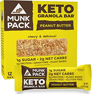 product image for Munk Pack Keto Granola Bar, 1g Sugar, 2g Net Carbs, Keto Snacks, Chewy & Grain Free, Plant Based, Paleo-Friendly, Gluten Free, Soy Free, No Sugar Added (Peanut Butter 12 Pack)