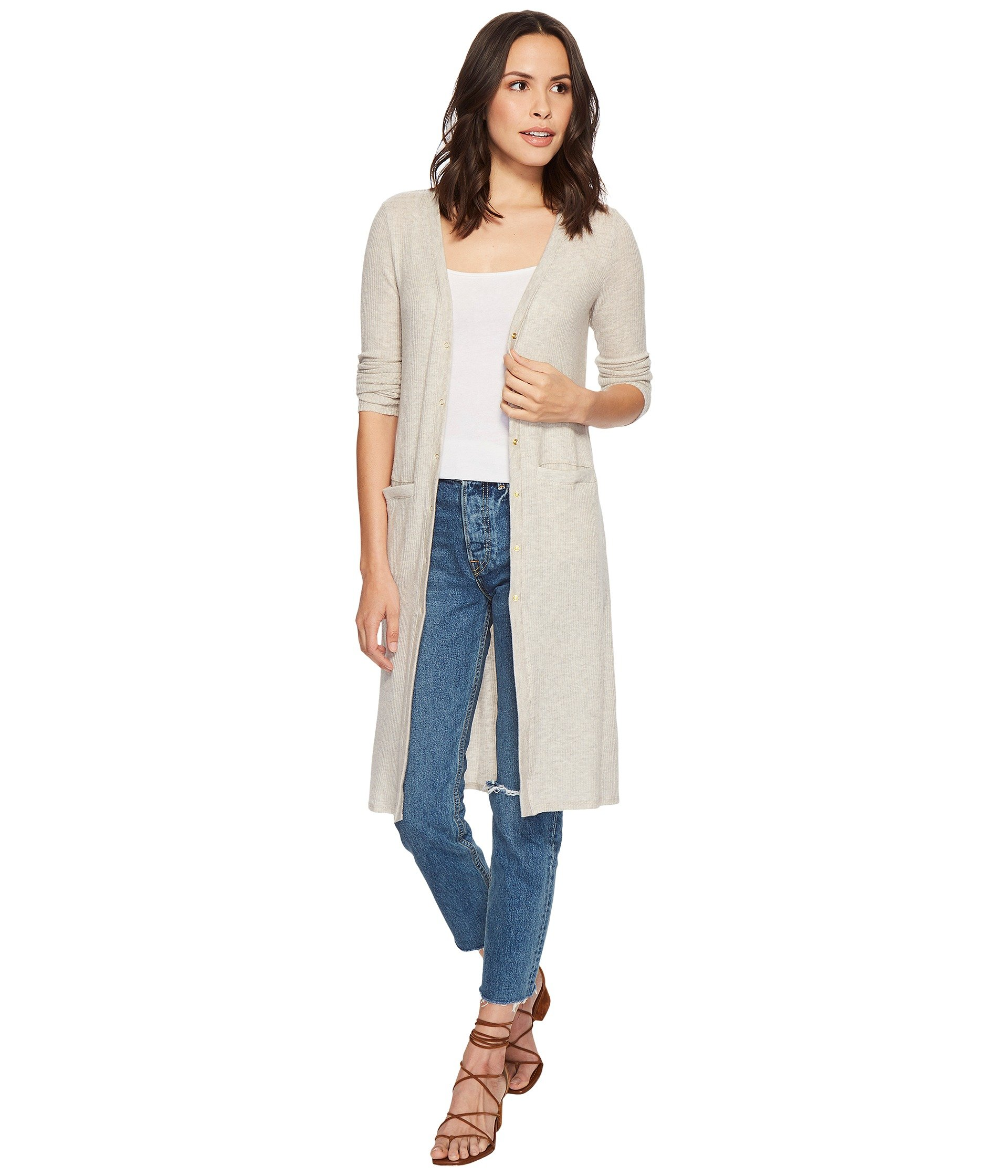 Three Dots Women's Brushed Sweater Long Cardigan, Marble, Extra Small