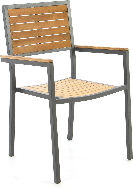 Silla de jardín silla apilable madera silla Terraza silla con reposabrazos – Teca de madera aluminio – 87 x 55 x 50 cm – Fácil resistente apilable – Color: Aluminio – Gris/madera – Marrón: Amazon.es: Jardín