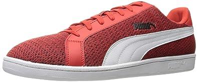PUMA Men's Smash Knit Fashion Sneaker, High Risk Red White, ...