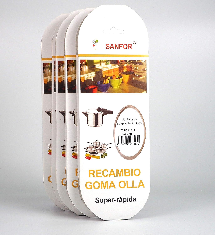 Sanfor 70036 Paquete 5 Junta rápida para olla tipo Magefesa, Caucho, BLANCO: Amazon.es: Hogar
