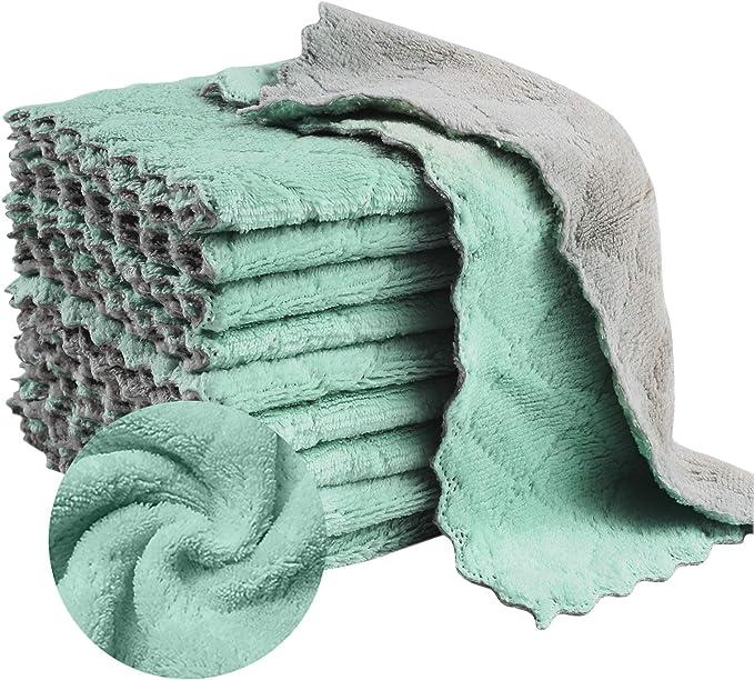 10PCS 25cmX15cm Coralline Microfiber Cloth Kitchen Tower Dish Rag