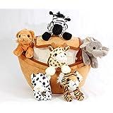 Plush Noah's Ark with Animals - Six (6) Stuffed Animals (Lion, Zebra, Tiger, Giraffe, Elephant, and White Tiger) in Play…