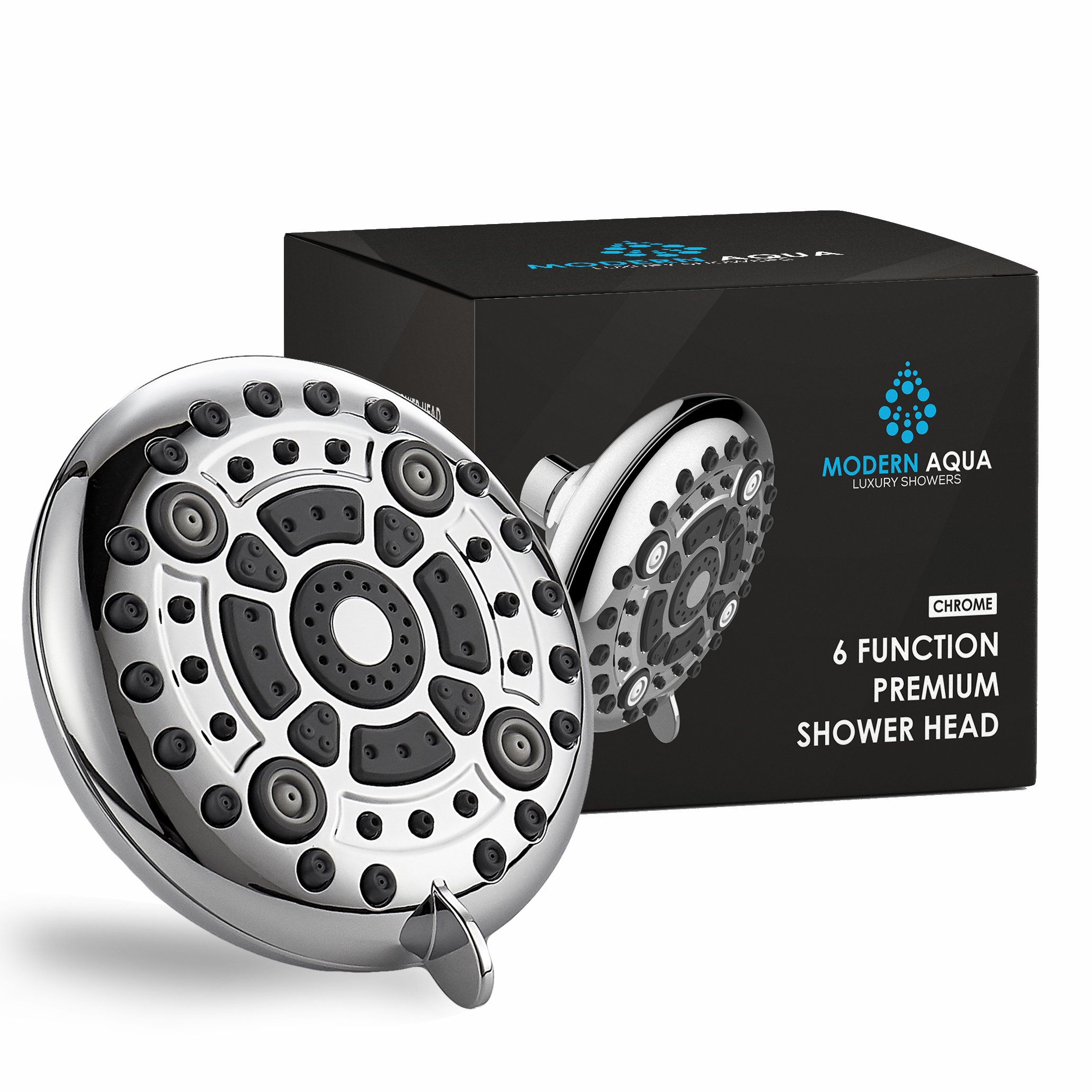 ModernAqua 6-function 5'' Shower Head - 2.5 GPM High Flow - Luxury Chrome Rain Showerhead with Anti-Clogging Silicone Jets - Removable Water Restrictor - Wall Mount - Self Cleaning nozzle
