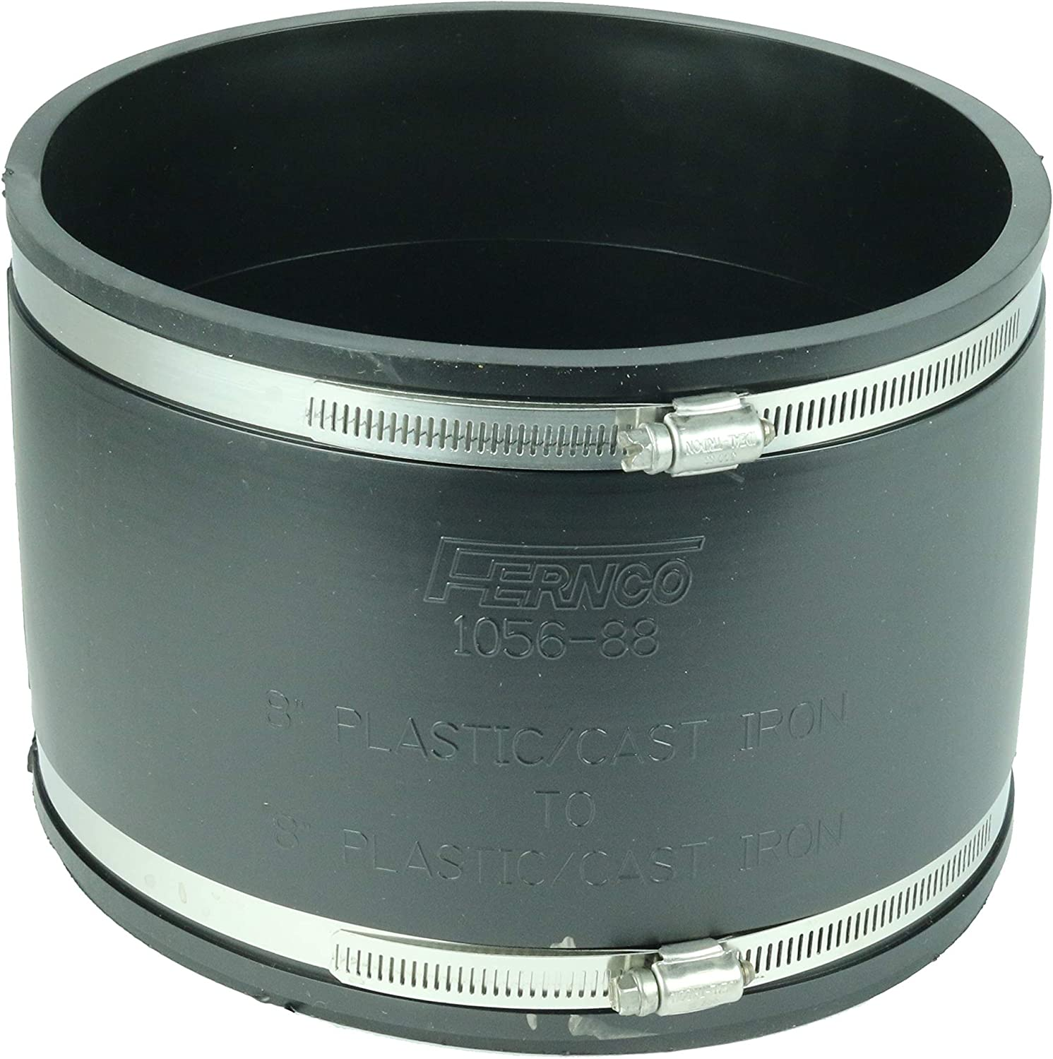 """Fernco 8"""" x 8"""" Flexible Coupling 1056-88 (Cl and Plastic to Cl and plastic)"""