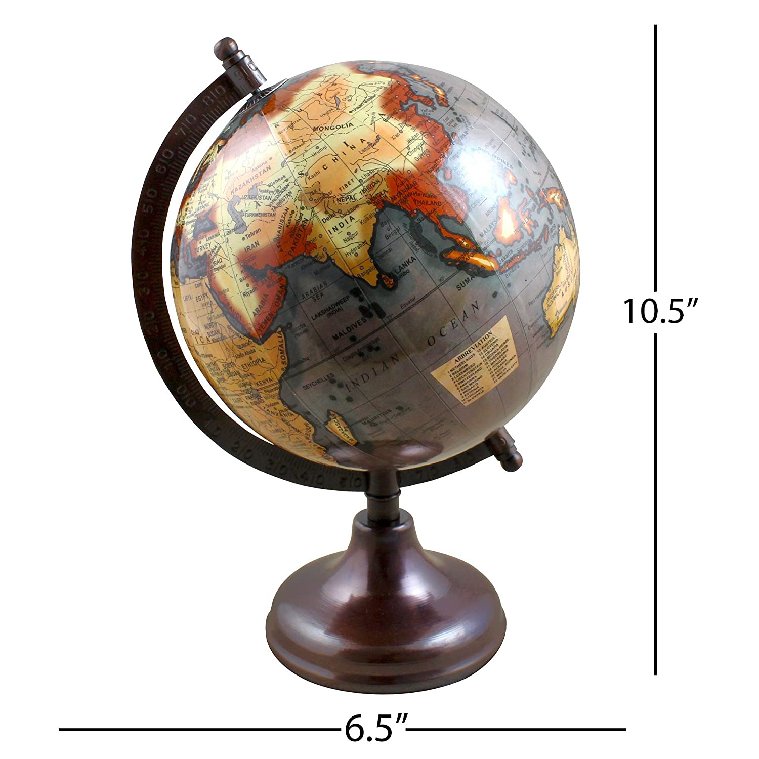 Pastel Country Metal Globe 8 Inch office /& table Decor