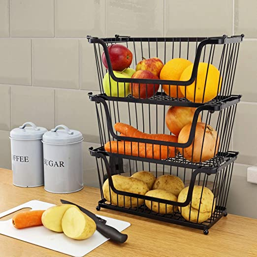 Greenfields® 10 Pack Black Multi-Purpose Stackable Storage Wire Basket  Stacking Shelves Fruit Vegetable Kitchen Bathroom Rack Stand Organiser with  ...