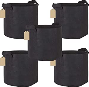 Freshway 5-Pack 5 Gallon Grow Bags Heavy Duty Aeration Fabric Pots Thickened Nonwoven Fabric Pots Plant Grow Bags with Handles and Free Tags
