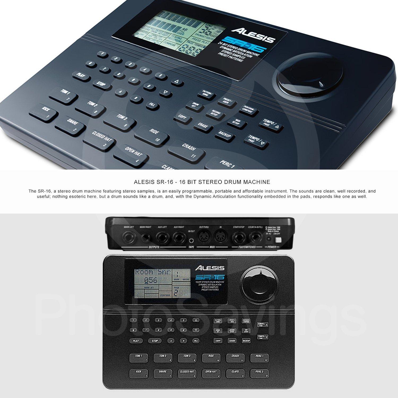 Alesis SR-16 16-Bit Stereo Drum Machine and Platinum Bundle w/Laptop Stand, Headphones, Cables and Fibertique Cloth by Photo Savings (Image #2)