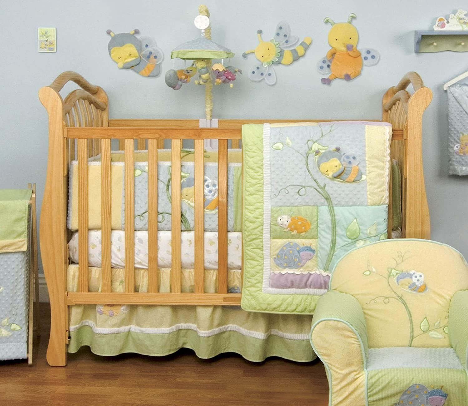 Amazon.com : Kidsline Snug As A Bug 6 Piece Crib Bedding Set ...