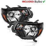 AmeriLite Black Headlights for Toyota 2012-2015 Tacoma (Pair) Replacement Assembly High/Low Beam Bulb Included