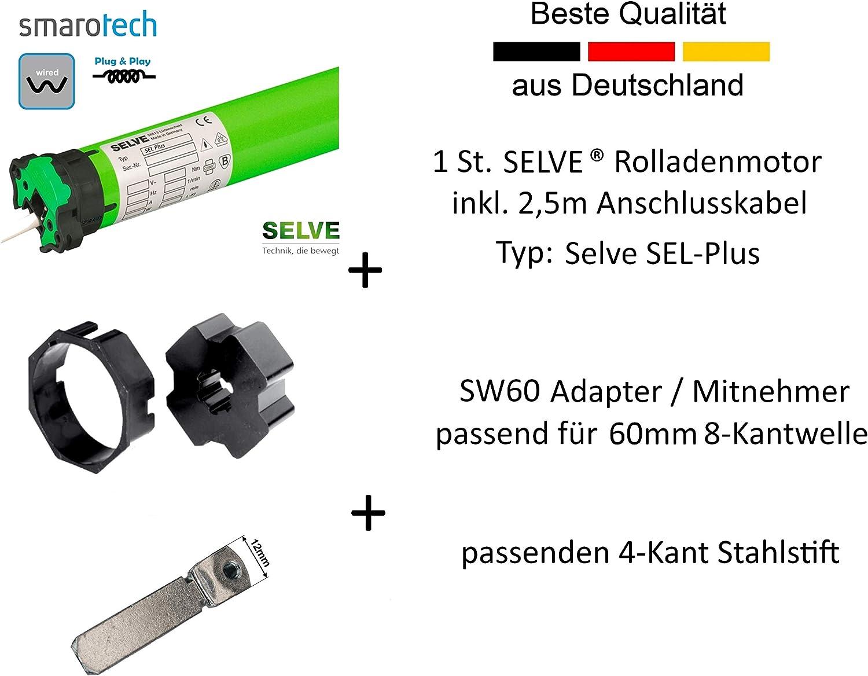 SW 60 Adapter//Mitnehmer SecuBlock 6 St Selve Rolladen-Motor SEL Plus 2//30 inklusive 2,5m Anschlusskabel einbruchshemmende Wellenverbinder Universallager