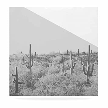 Kess inhouse sylvia coomes cactus black white photography luxe square panel 8 x 8quot