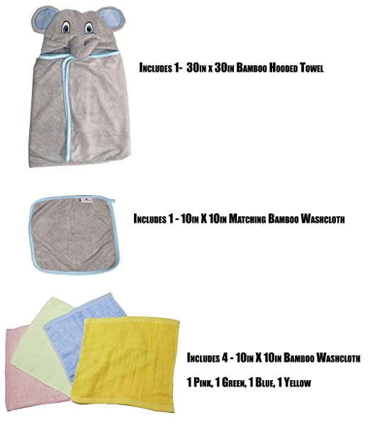 Amazon.com : Hooded Baby Towel and Washcloth Set | 100% Organic Bamboo Towel Washcloth Set | Includes 4 Bamboo Washcloth | Toalla Para Bebe | My Royal Baby ...