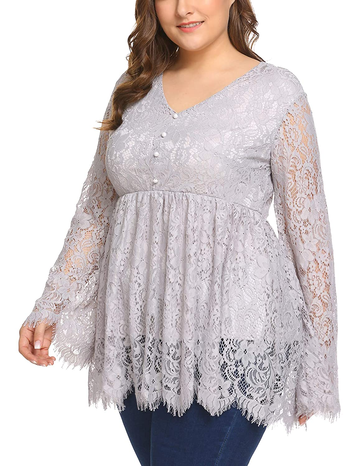 3b951a74b60 Women s Plus Size V-Neck Long Sleeve Ruffle Puff Sleeve Lace Blouse Tops at  Amazon Women s Clothing store
