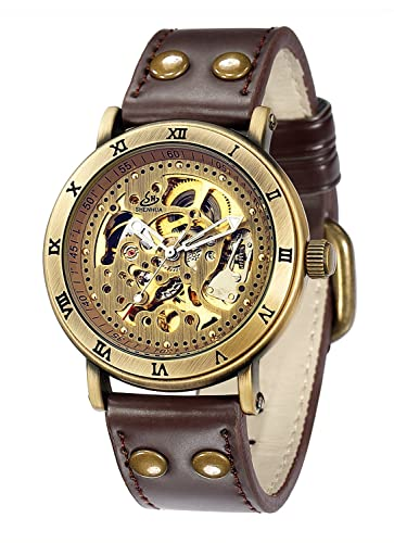 Carrie Hughes Men s Steampunk Automatic Watch Skeleton Self-Winding Mechanical Leather Brown CH168B