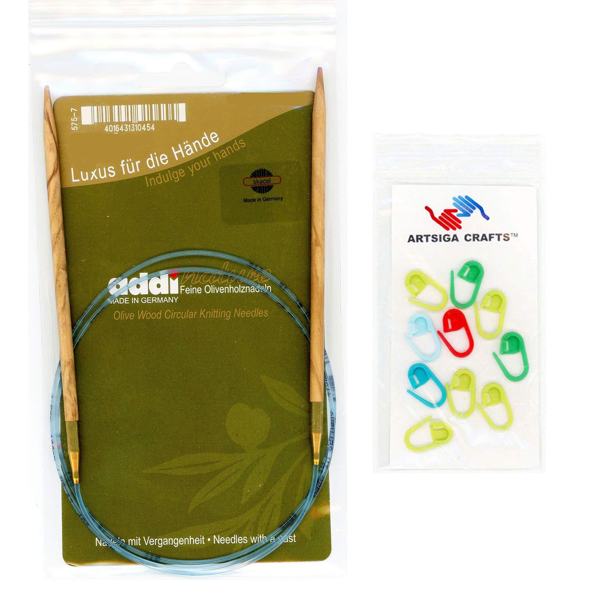 addi Knitting Needle Circular Olive Wood Skacel Exclusive Blue Cord 60 inch (150cm) Size US 09 (5.5mm) Bundle with 10 Artsiga Crafts Stitch Markers