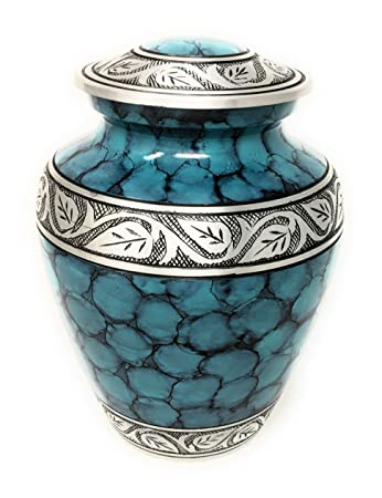 Hydra Cremation Urn with Lid Choose from 4 Colors Adult Human Ashes Vase to Hold Your Loved Ones Ash Securely Beautiful Classic Urns Matching Mini Keepsakes Available Blue