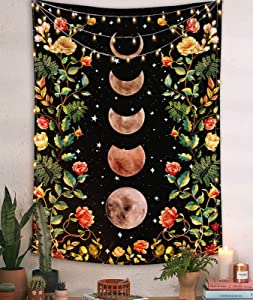Moon Tapestry Wall hanging, Boho Tapestries Wall Decor, Floral Tapastry with Moonlit Garden Phase Star for Bedroom Black 36''×48''